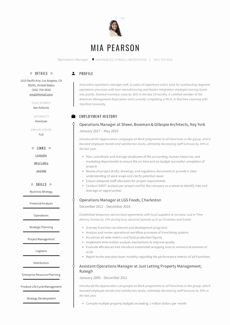 Operations Manager Resume Sample Pdf Fresh Operations Manager Resume & Writing Guide 12 Examples