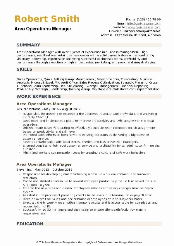 Operations Manager Resume Sample Pdf New area Operations Manager Resume Samples