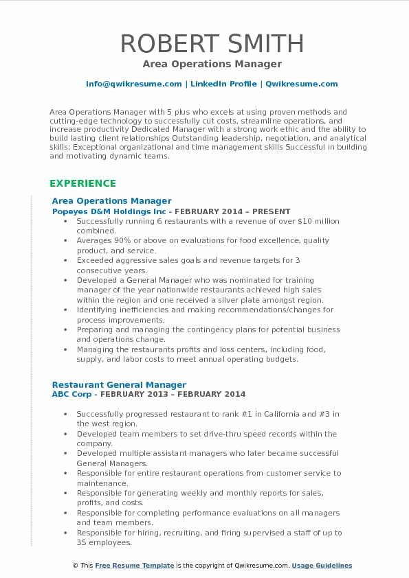 Operations Manager Resume Sample Pdf Unique area Operations Manager Resume Samples