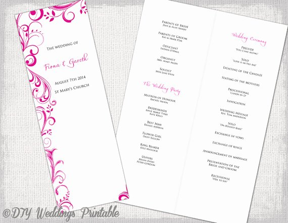 Order Of Service Template Beautiful A4 Wedding order Of Service Template Begonia Pink