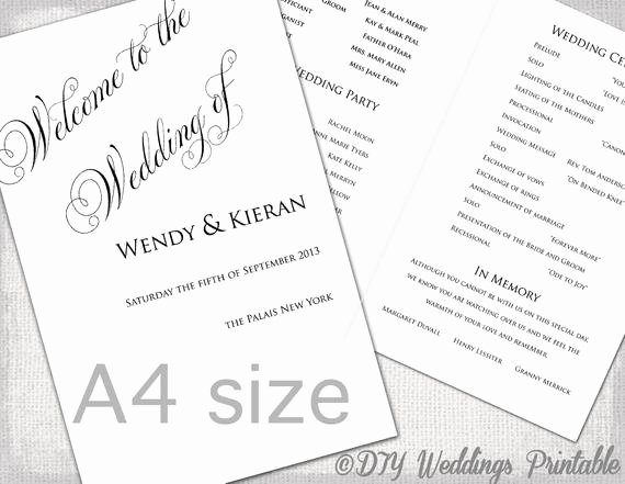 Order Of Service Template Beautiful A4 Wedding order Of Service Template Black & White Diy