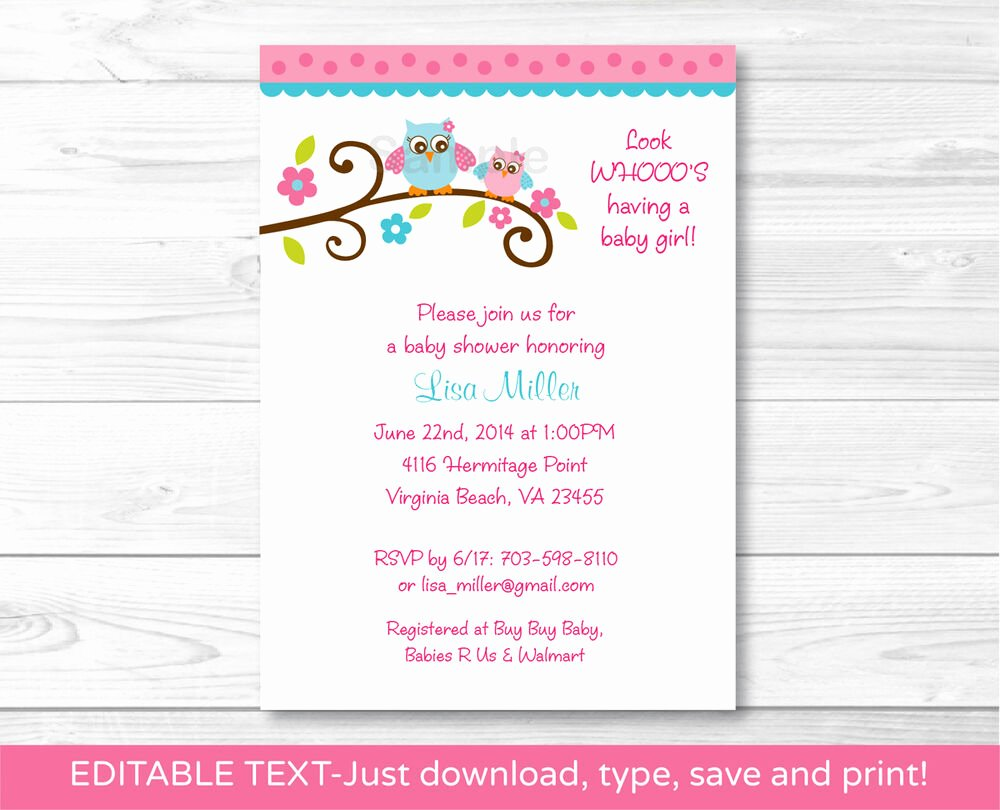 Owl Baby Shower Invitations Templates Awesome Girl Owl Printable Baby Shower Invitation Editable Pdf