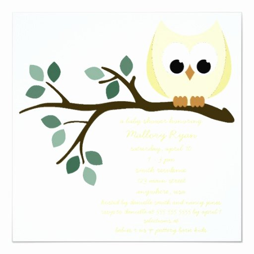 Owl Baby Shower Invitations Templates Beautiful Yellow Owl Baby Shower Invitation