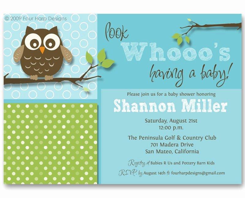 Owl Baby Shower Invitations Templates Elegant Baby Shower Invitation Owl Invite Look whooo S by