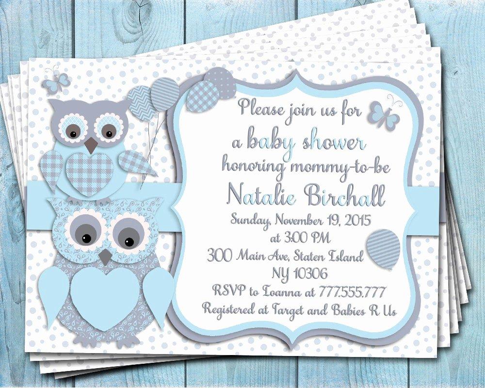 Owl Baby Shower Invitations Templates Fresh Blue Grey Owl Baby Shower Printable Invitation Baby Boy
