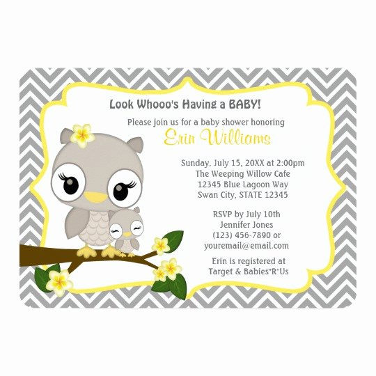 Owl Baby Shower Invitations Templates Inspirational Owl Baby Shower Invitation Chevron Gray Yellow 160