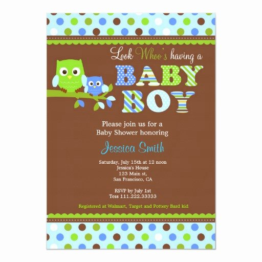 Owl Baby Shower Invitations Templates Lovely Owl Baby Shower Invitation Boy