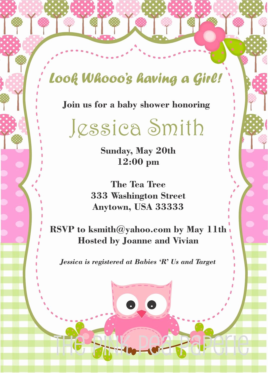 Owl Baby Shower Invitations Templates Lovely Owl Baby Shower Invitation with Pink and Green Digital