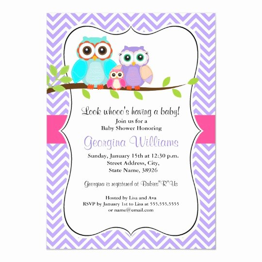 Owl Baby Shower Invitations Templates New Cute Owl Girl Baby Shower Invitation Pink & Purple