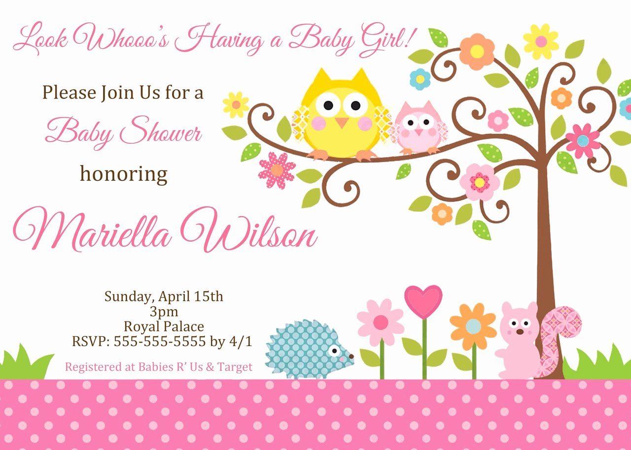 Owl Baby Shower Invitations Templates New Happi Tree Owl Baby Shower Invitation Pink Partyexpressinvitations