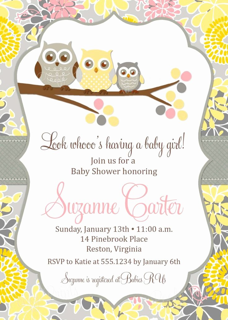 Owl Baby Shower Invitations Templates Unique 17 Best Images About Baby Girl Baby Shower On Pinterest