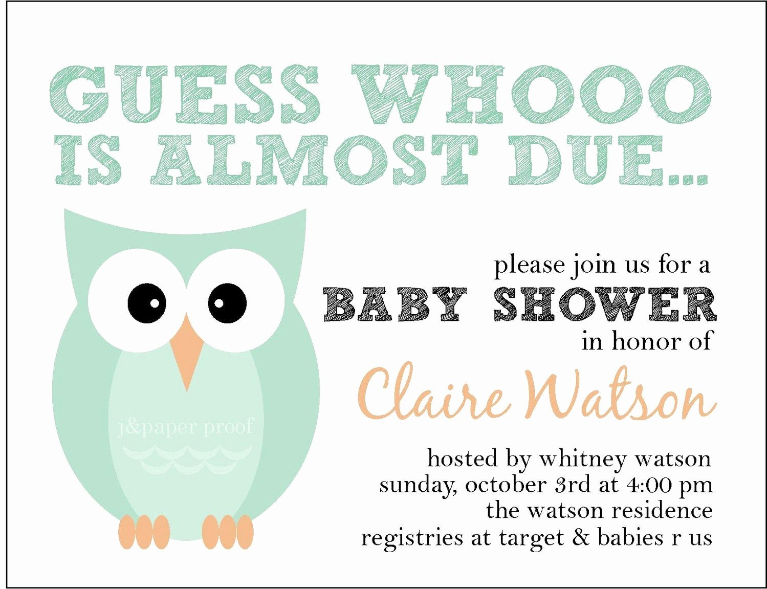 Owl Baby Shower Invitations Templates Unique Owl themed Baby Shower Invitation whoo is Due Set Of 16