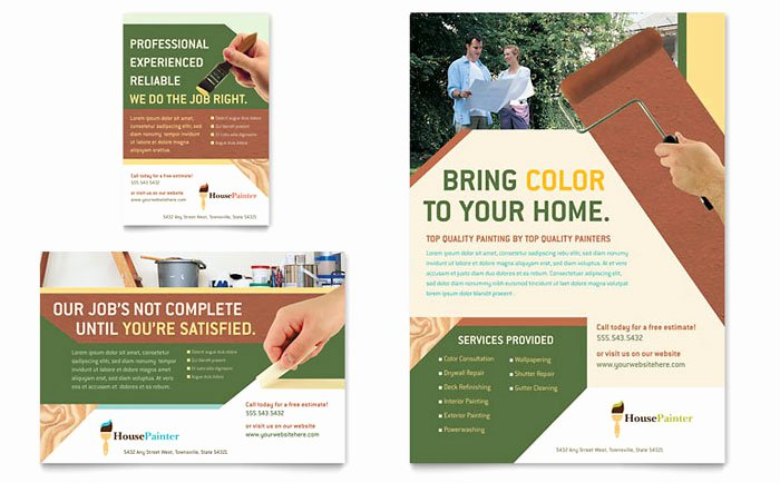 Painting Flyers Templates Free Awesome Painter & Painting Contractor Flyer & Ad Template Design