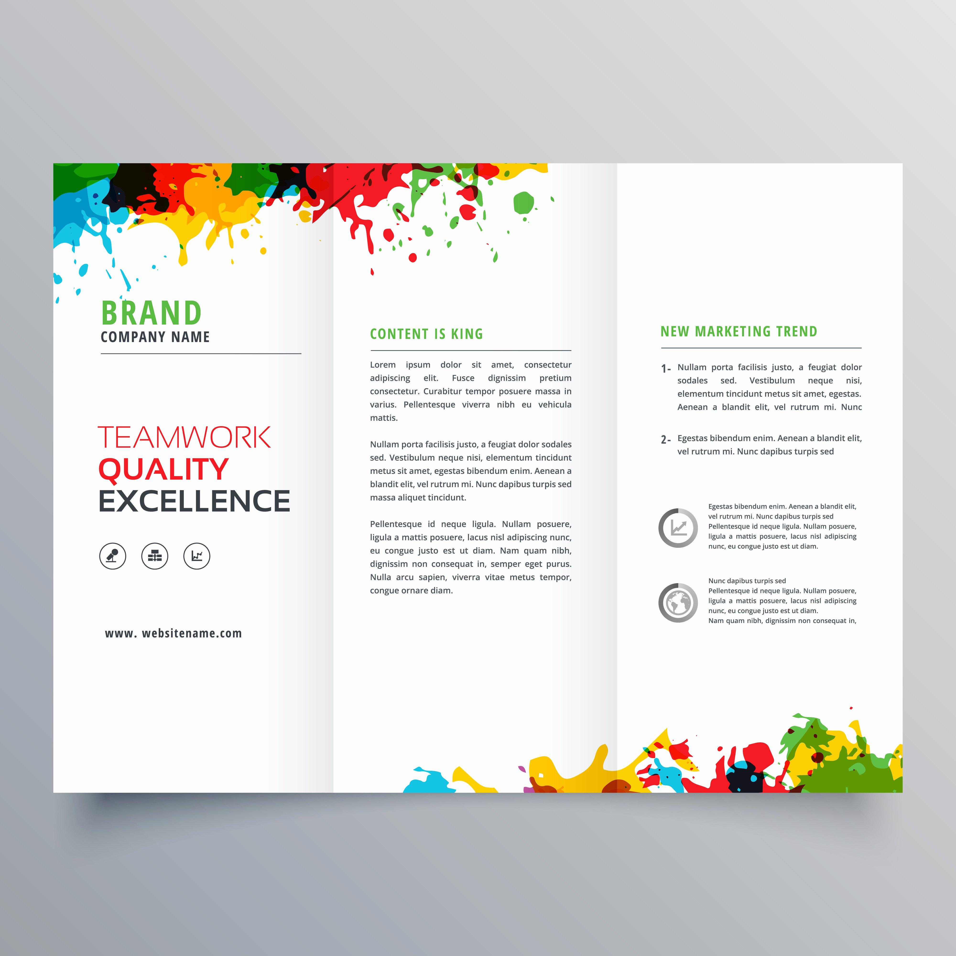 Painting Flyers Templates Free Elegant Colorful Ink Splatter Trifold Brochure Design Download
