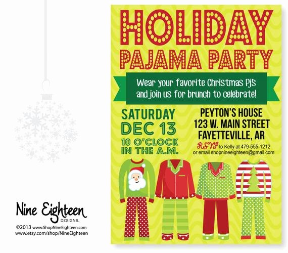 Pajama Party Invitations Free Printable Awesome Christmas Pajama Party Invitation Custom by Nineeighteen On Etsy