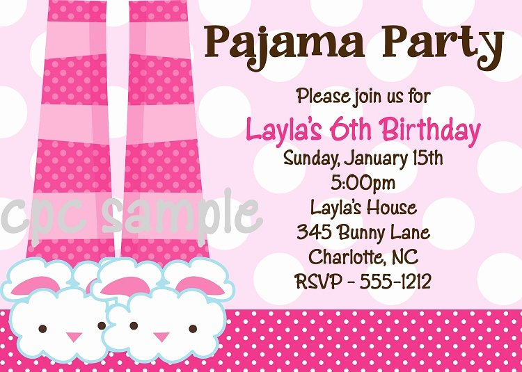 Pajama Party Invitations Free Printable Best Of Pajama Birthday Party Invitations
