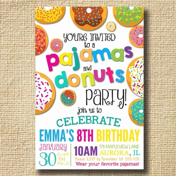 Pajama Party Invitations Free Printable Fresh Printable Donuts and Pajamas Party Invitation Donuts Birthday Invitations Pajama Party