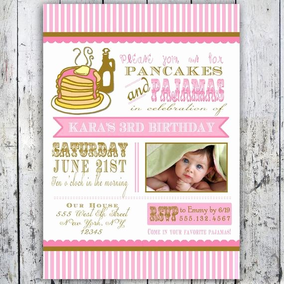 Pajama Party Invitations Free Printable Inspirational Pancakes and Pajamas Party Invitation Card Printable