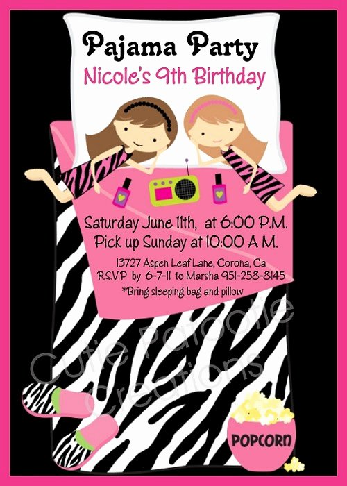 Pajama Party Invitations Free Printable Luxury Pajama Party Birthday Invitations