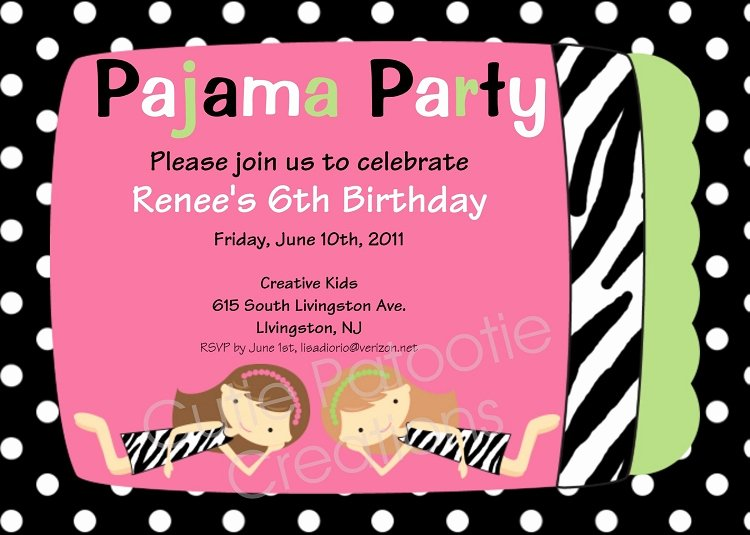 Pajama Party Invitations Free Printable Luxury Zebra Print Pajama Party Birthday Invitations