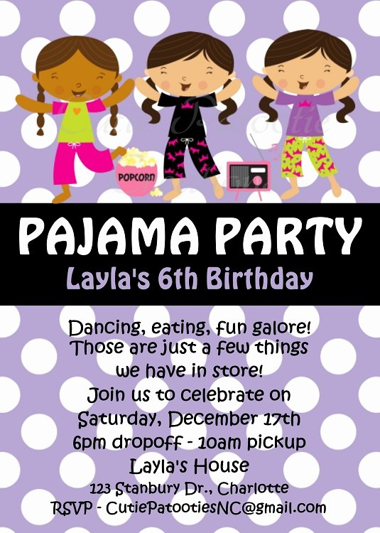 Pajama Party Invitations Free Printable New Pajama Party Birthday Invitations