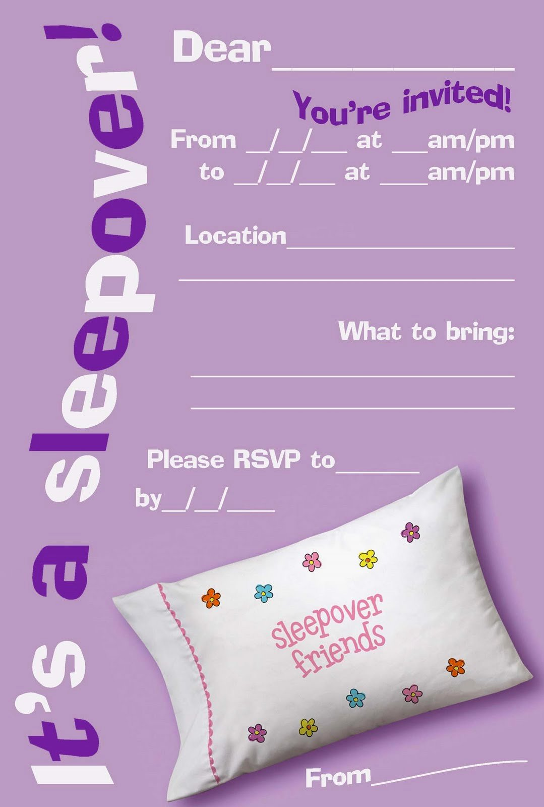 Pajama Party Invitations Free Printable Unique 50 Beautiful Slumber Party Invitations