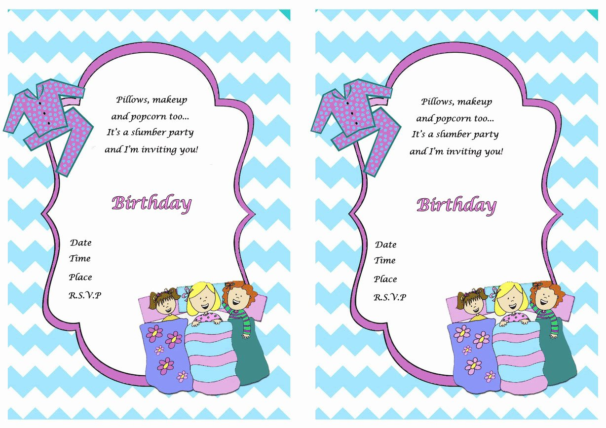 Pajama Party Invitations Free Printable Unique Sleepover Birthday Invitations
