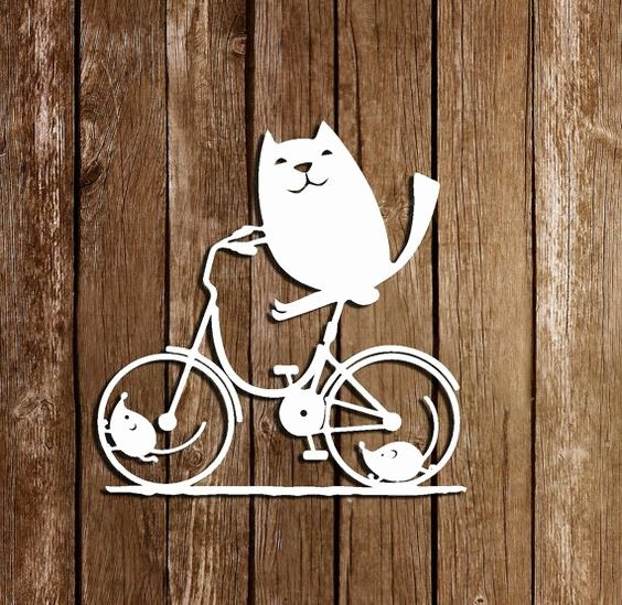 Paper Cut Out Templates Fresh Svg Cutting Files Cat On Bicycle Pdf Paper Cutting Template Cat Paper Cut Outs Personal Use