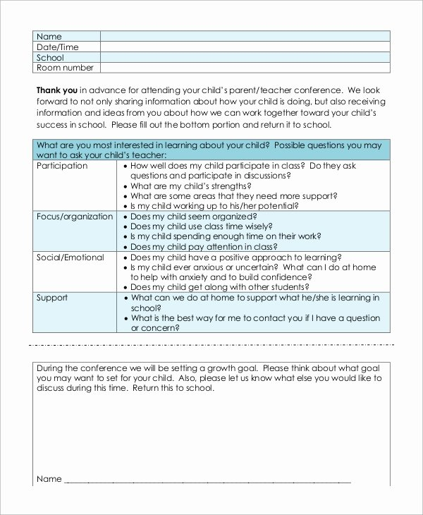 Parent Teacher Conference form Pdf Beautiful Sample Parent Teacher Conference form 9 Examples In Word Pdf