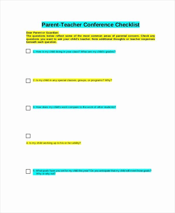 Parent Teacher Conference form Pdf Elegant 9 Parent Teacher Conference forms Free Sample Example format