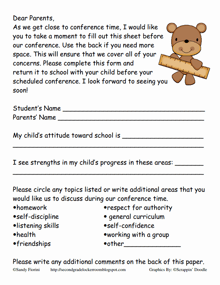 Parent Teacher Conference form Pdf Inspirational Fiorini Preconference form Pdf Ideas