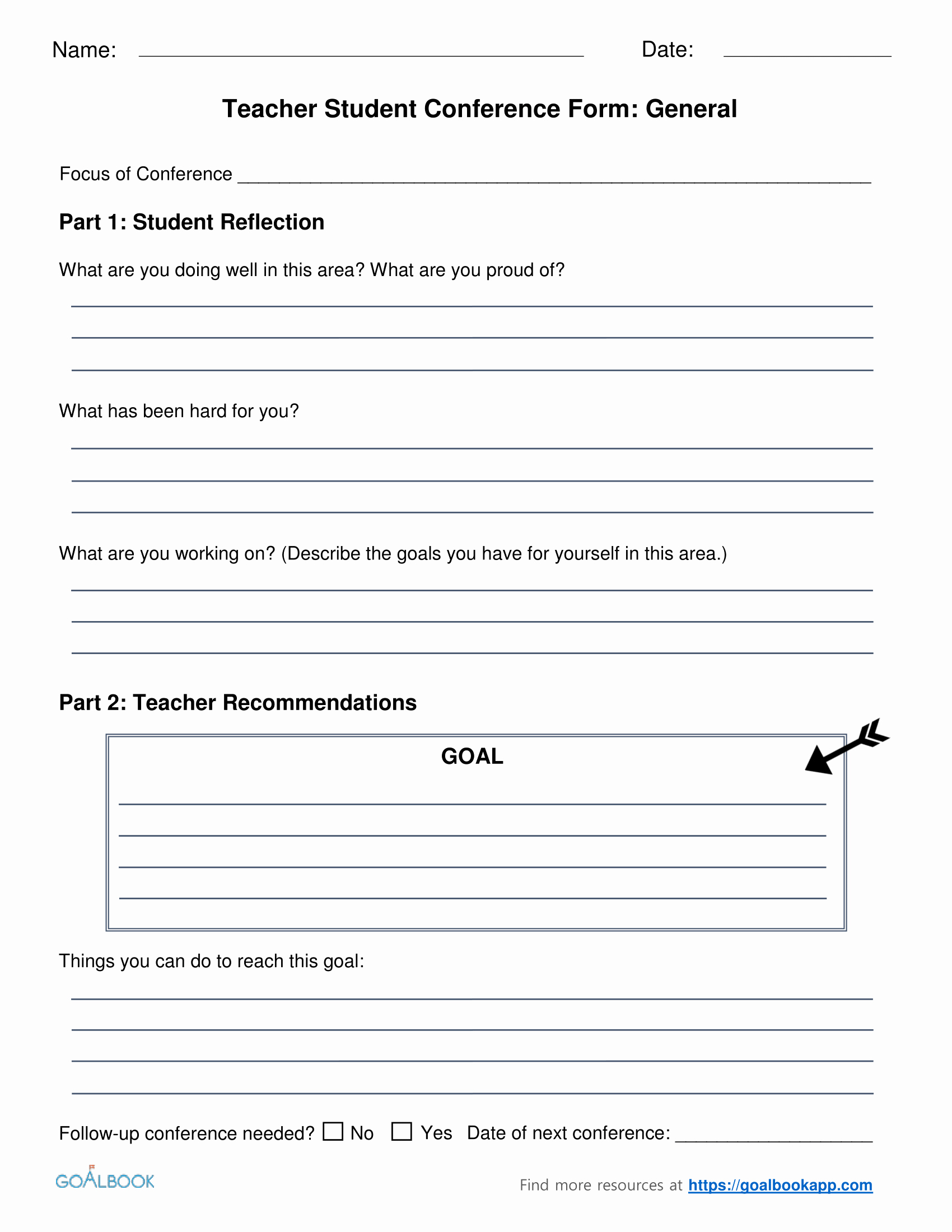 Parent Teacher Conference form Pdf Inspirational Student Teacher Conference