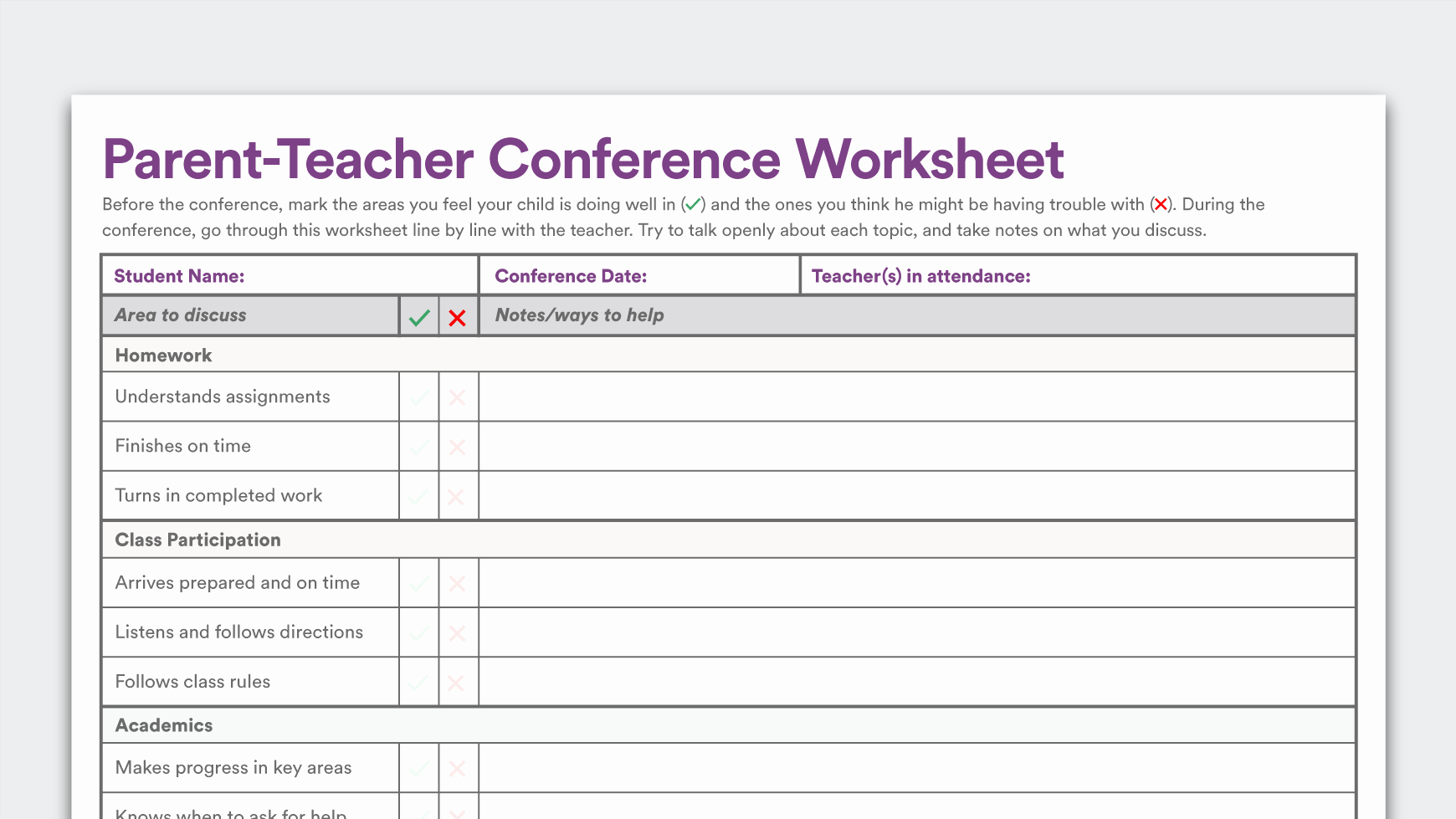 Parent Teacher Conference form Pdf Lovely Printable Parent Teacher Conference Worksheet