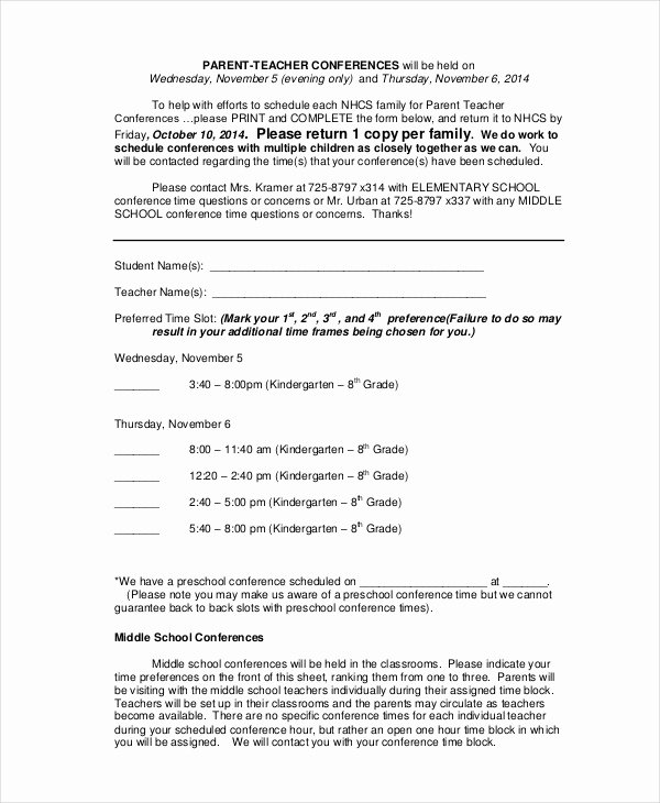 Parent Teacher Conference form Pdf Unique 9 Parent Teacher Conference forms Free Sample Example format