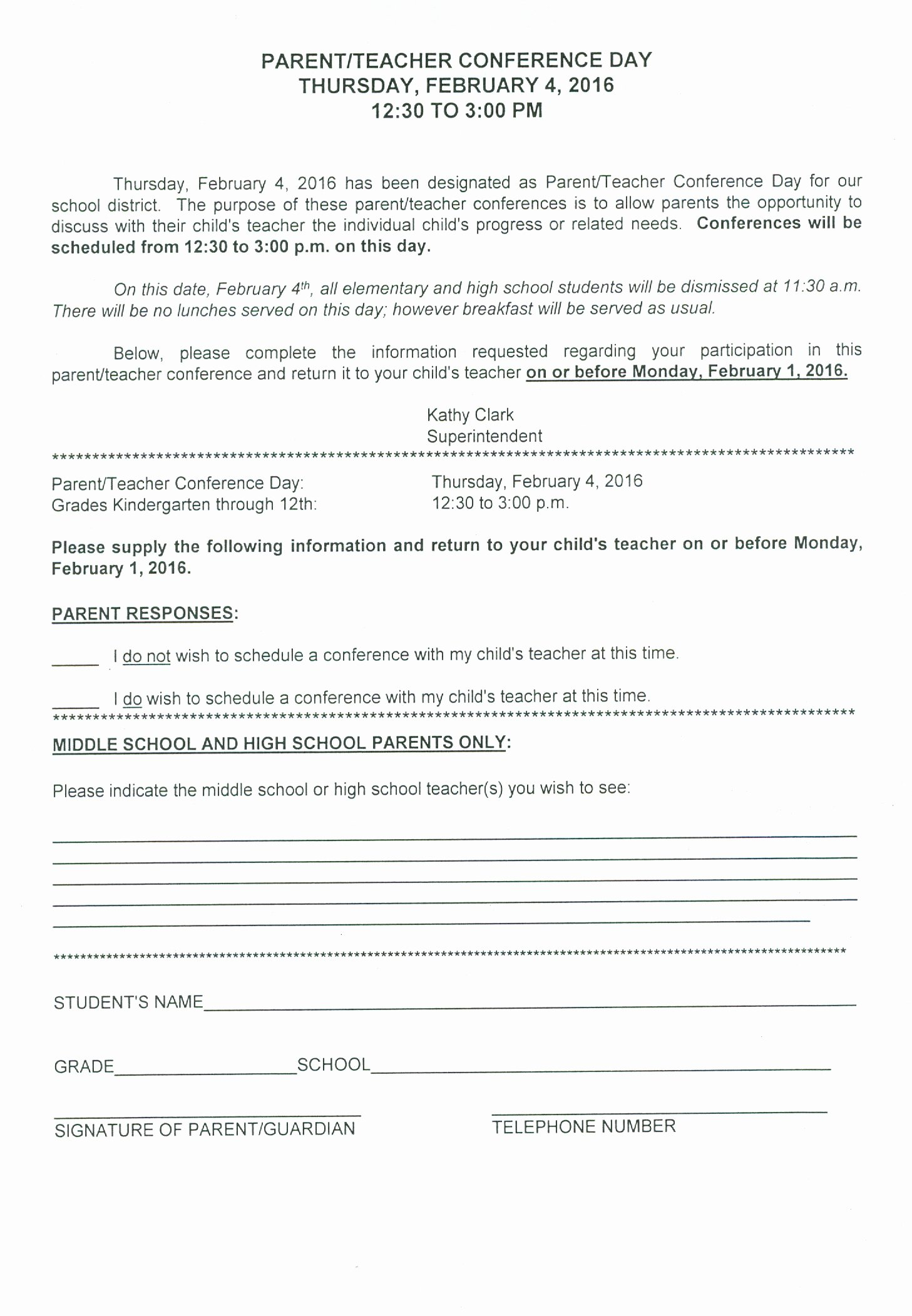 Parent Teacher Conference form Pdf Unique Our School Cont D Teacher forms