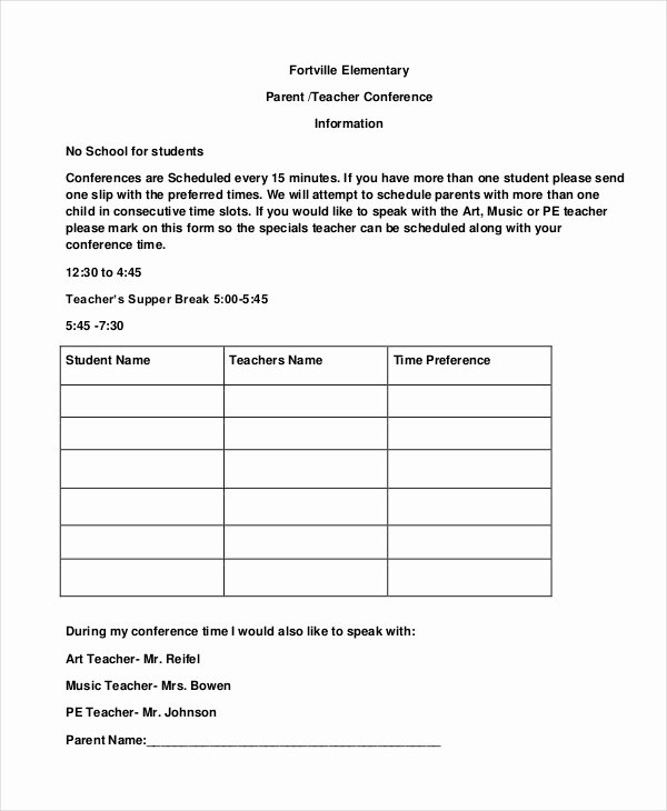 Parent Teacher Conference Request form Beautiful 9 Parent Teacher Conference forms Free Sample Example