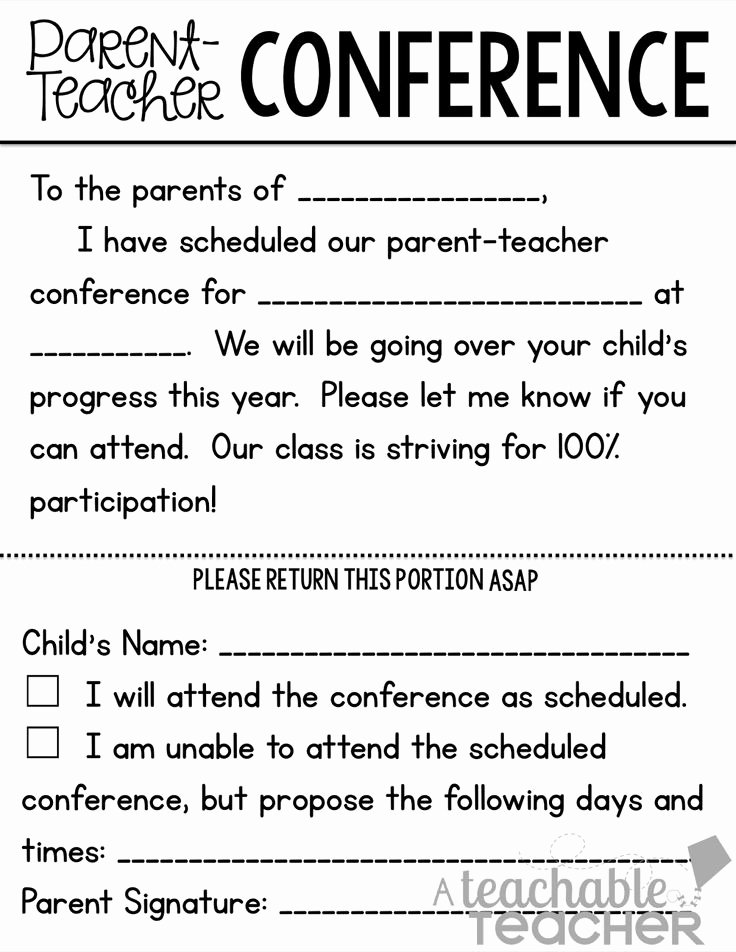 Parent Teacher Conference Request form Fresh Parent Teacher Conference Tips and Freebies Linky Party