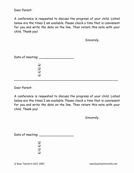 Parent Teacher Conference Request form New Conference Request Letter to Parents Printables & Template