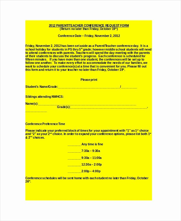 Parent Teacher Conference Request form Unique 9 Parent Teacher Conference forms Free Sample Example