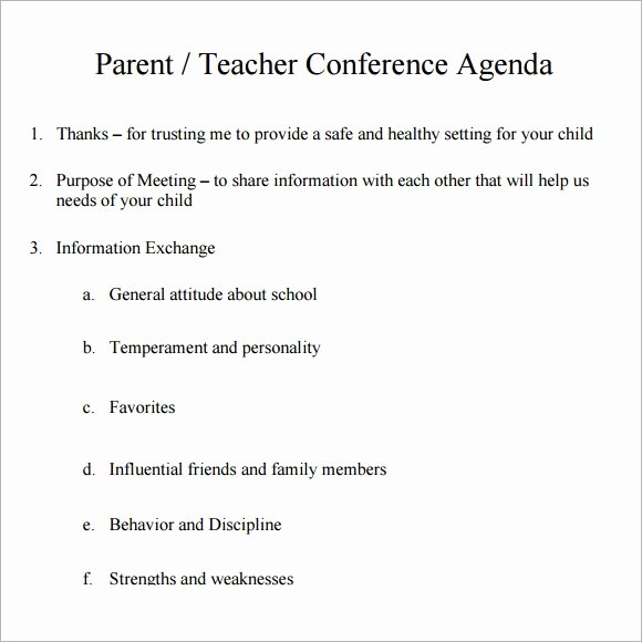 Parent Teacher Conference Schedule Template Beautiful Conference Agenda Template 6 Download Free Documents In Pdf