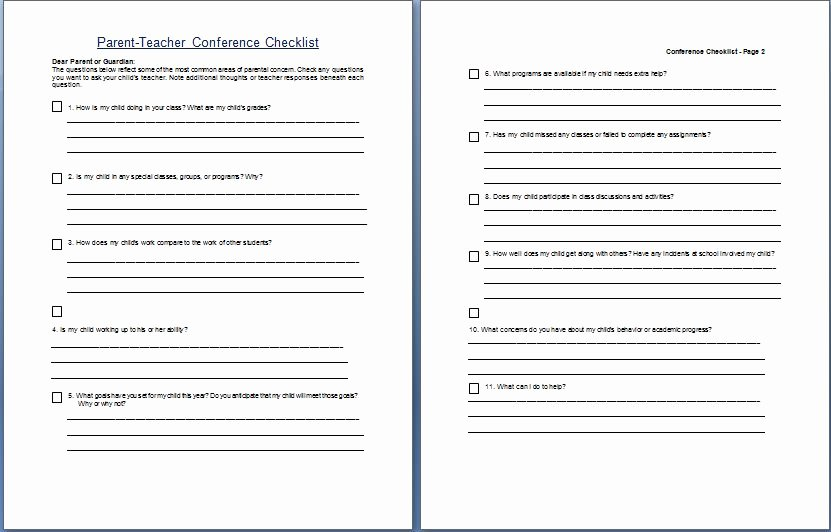Parent Teacher Conference Schedule Template Best Of Parent Teacher Conference Concern Questionare Checklist Template