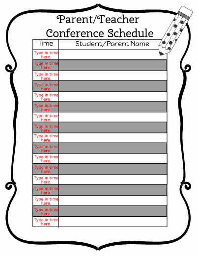 Parent Teacher Conference Schedule Template Best Of This Folder Contains A Collection Of Parent Munication Teacher Materials Saved by Danielle Rivera