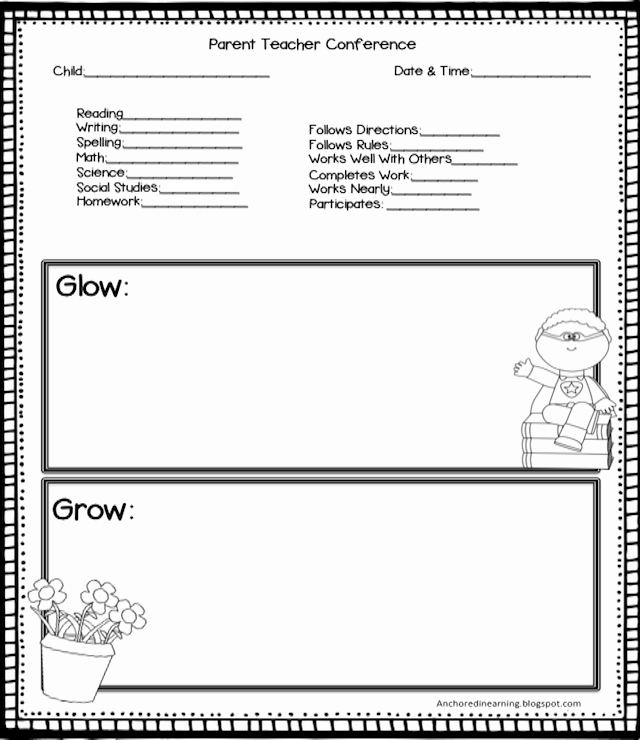 Parent Teacher Conference Schedule Template Inspirational Anchored In Learning You Oughta Know August Blog Hop