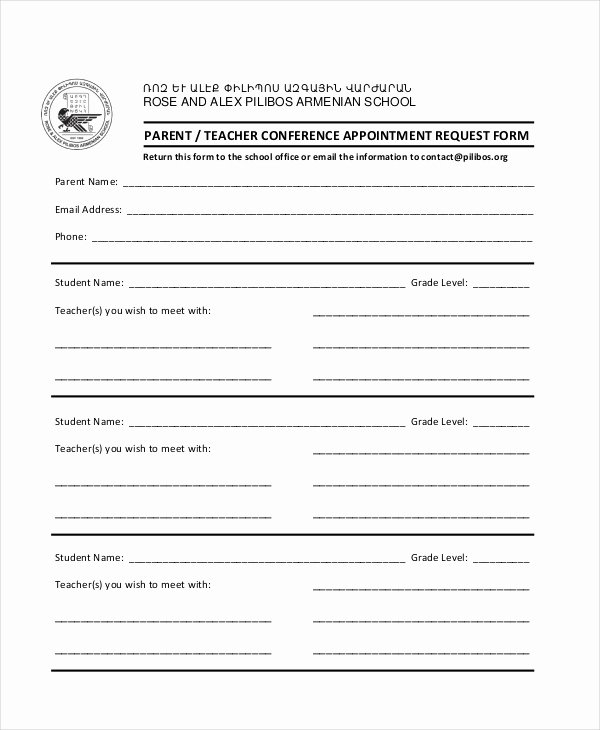 Parent Teacher Conference Schedule Template Lovely 9 Parent Teacher Conference forms Free Sample Example format