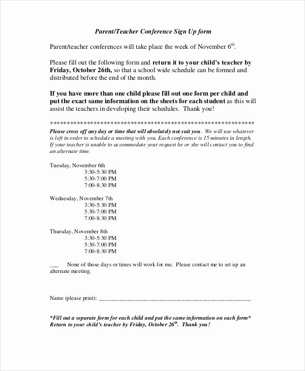 Parent Teacher Conference Schedule Template Luxury 9 Parent Teacher Conference forms Free Sample Example format