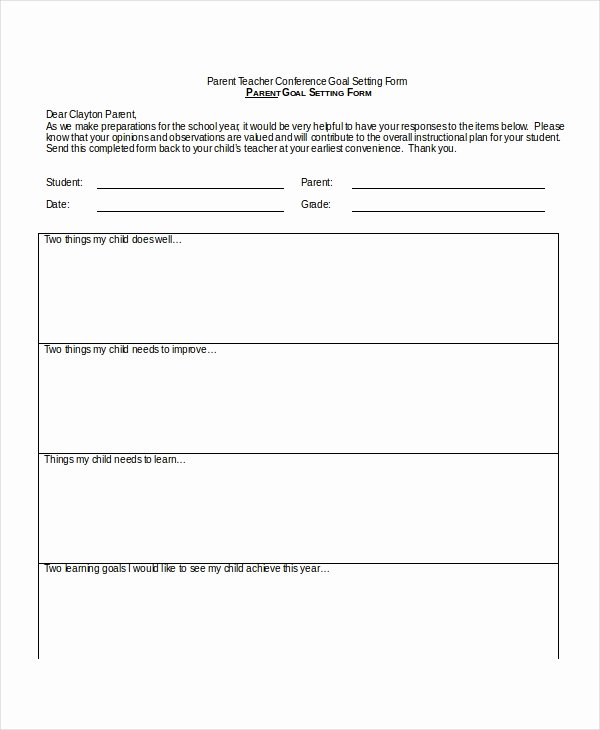 Parent Teacher Conference Schedule Template New 9 Parent Teacher Conference forms Free Sample Example format