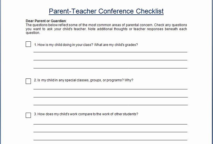 Parent Teacher Conference Schedule Template Unique Parent Teacher Conference Concern Questionare Checklist Template