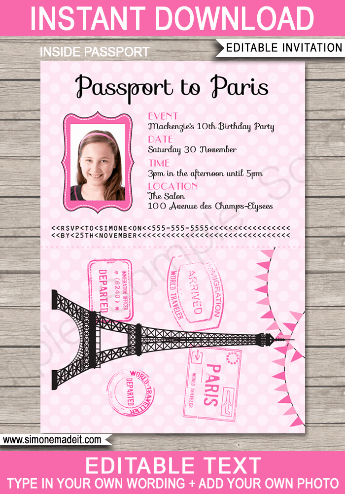 Paris Passport Invitation Template Elegant Paris Passport Invitation Template with Photo