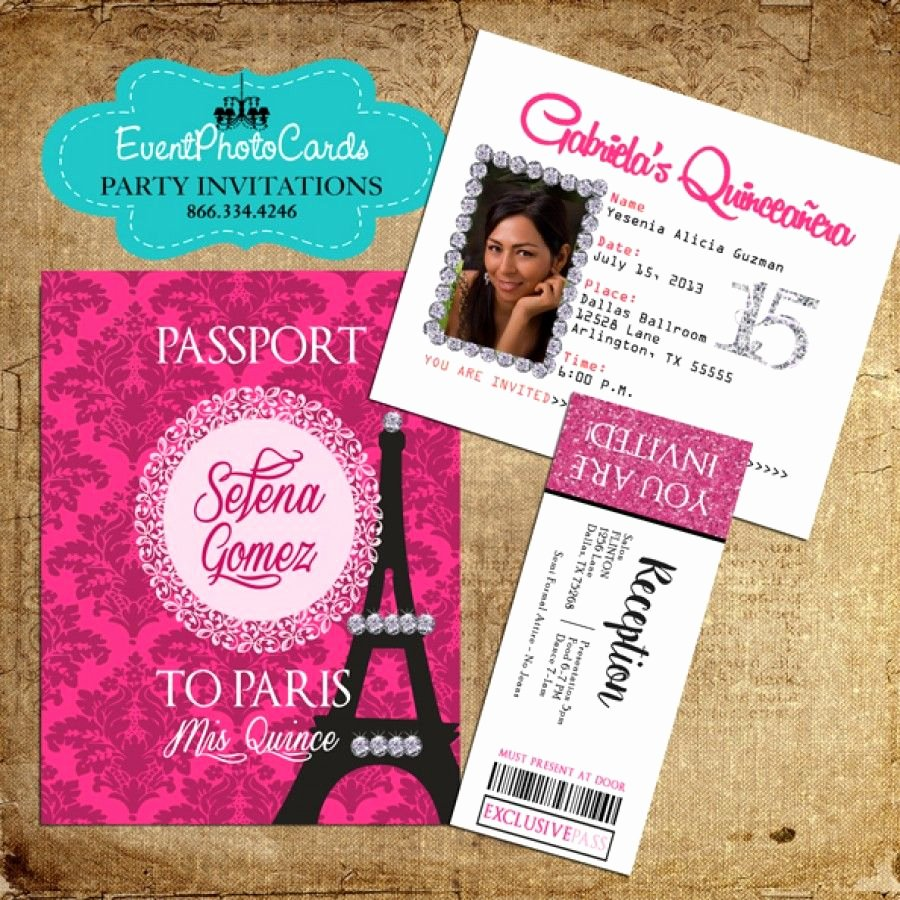 Paris Passport Invitation Template Fresh Paris Pink Passport Invitations with Ticket Reception Pass