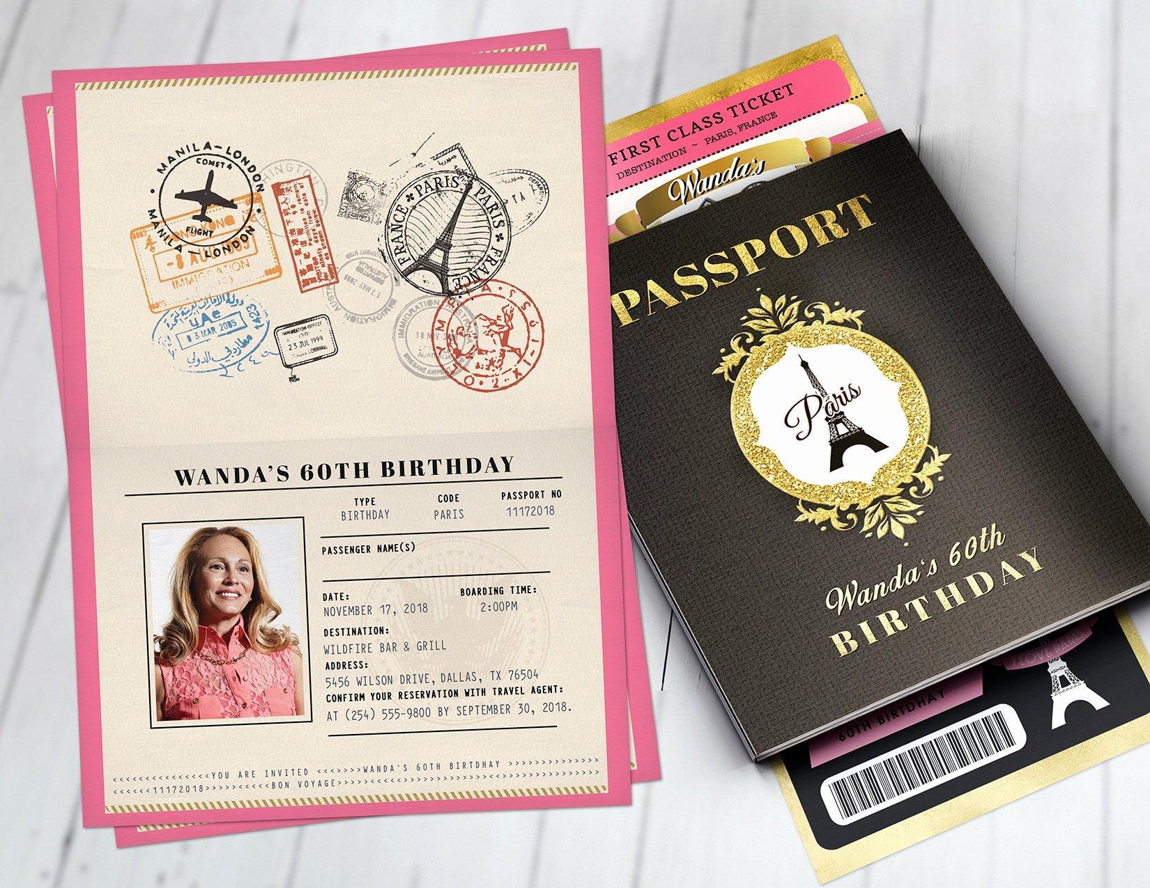 Paris Passport Invitation Template Fresh Passport and Ticket Birthday Invitation Paris Birthday